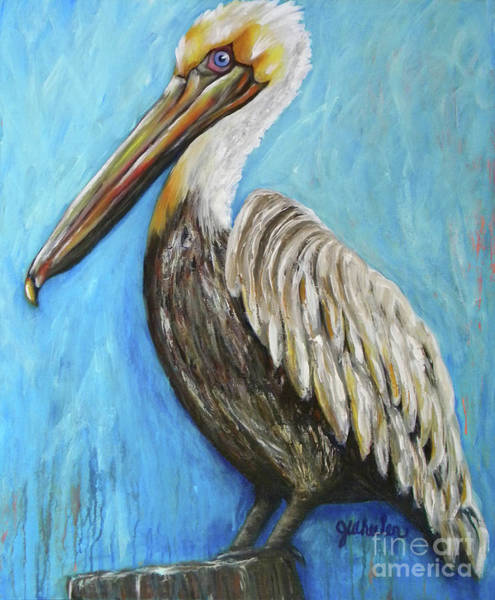 Alabama Painting - Pelican On Post by JoAnn Wheeler