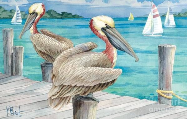 Brown Pelicans Wall Art - Painting - Pelican Sails by Paul Brent