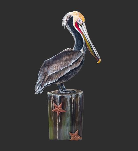 Pool Mixed Media - Pelican Standing On A Piling by Jennifer Rogers