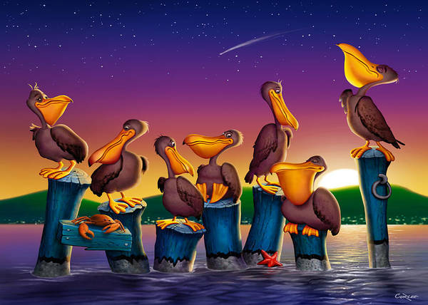 Harbor Scene Digital Art - Pelican Sunset Blank Greeting Card by Walt Curlee