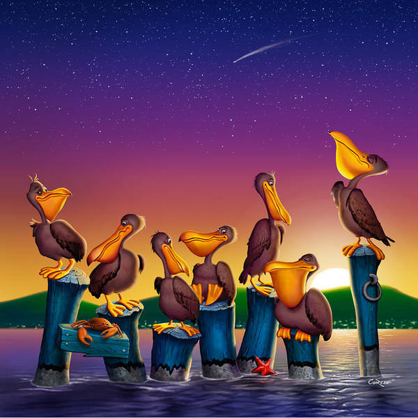 Harbor Scene Digital Art - Pelican Sunset Whimsical Cartoon -  Square Format by Walt Curlee