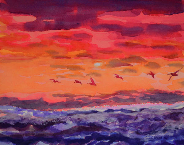 Painting - Pelicans At Sunrise by Julianne Felton