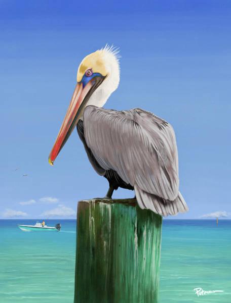 Coastal Digital Art - Pelicans Post by Kevin Putman