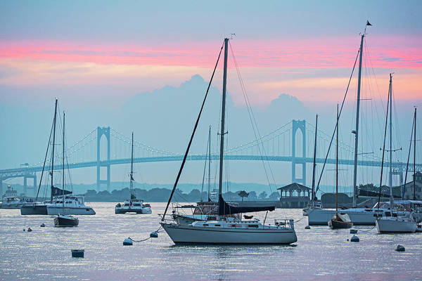 Photograph - Pell Bridge Newport Harbor Newport Ri Rhode Island Purple Sunset by Toby McGuire