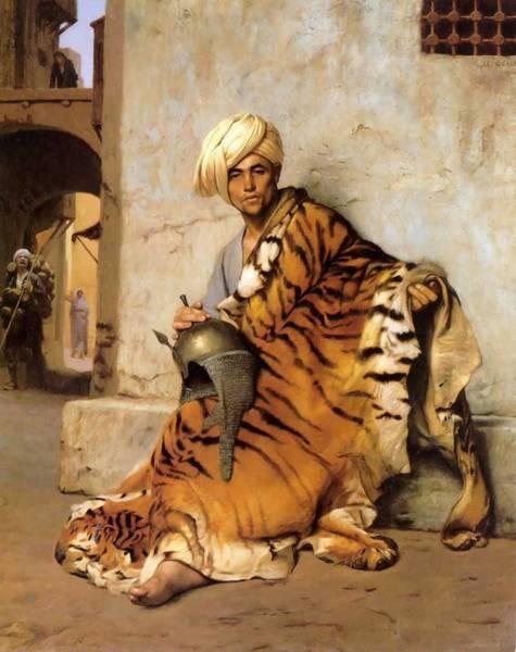 Helm Painting - Pelt Merchant Of Cairo - 1869 by Jean-Leon Gerome