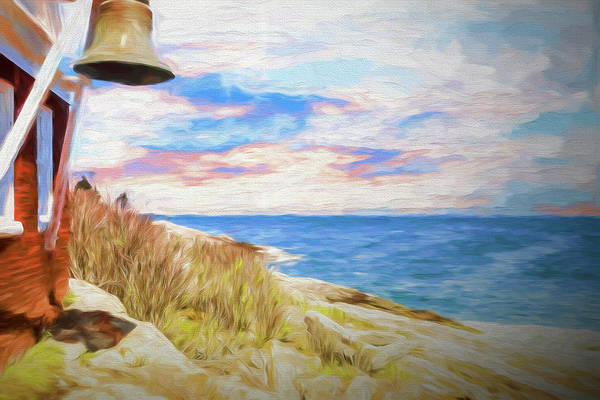 Pemaquid Lighthouse Bell On Maine Rocky Coast. Art Print