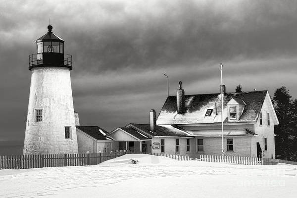 Photograph - Pemaquid Point Lighthouse And Museum In Winter Monochrome  by Olivier Le Queinec