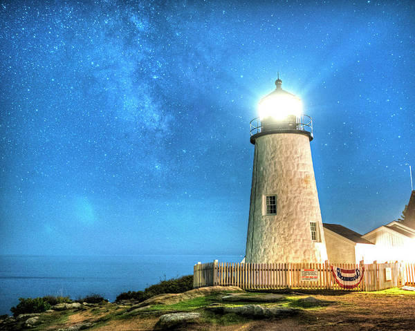 Photograph - Pemaquid Point Lighthouse Bristol Road Maine Milky Way by Toby McGuire