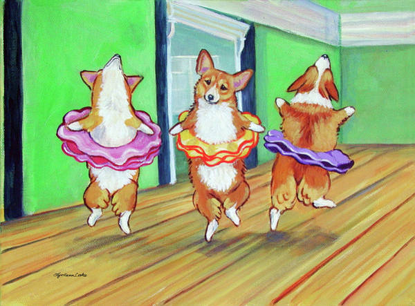 Wall Art - Painting - Pembroke Welsh Corgi Ballerina's Ballet Lesson by Lyn Cook