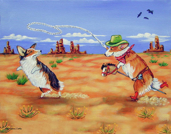 Wall Art - Painting - Pembroke Welsh Corgi Opie Gets A Date by Lyn Cook