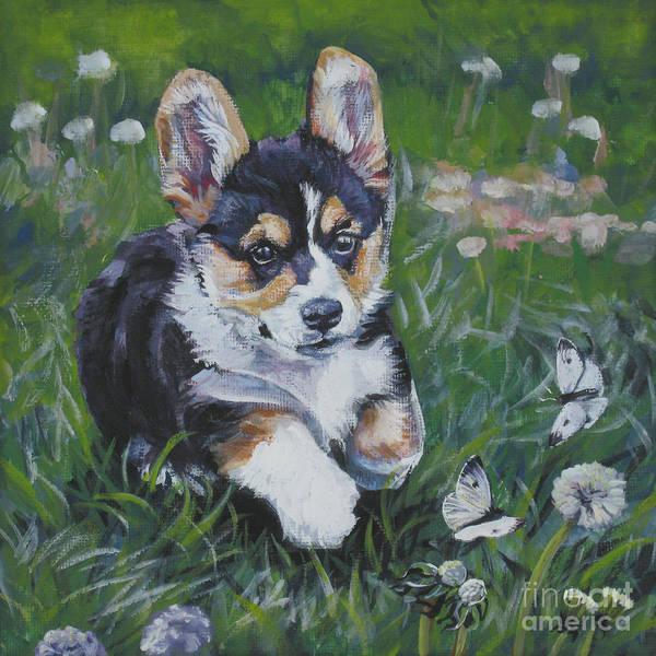 Welsh Painting - Pembroke Welsh Corgi Puppy by Lee Ann Shepard