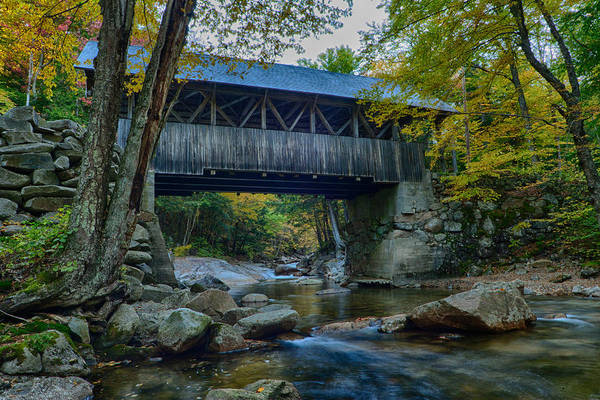 Pemigewasset River Wall Art - Photograph - Pemigewasset River Under The Flume Gorge Covered Bridge by Jeff Folger