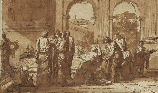 Wall Art - Drawing - Pen And Brown Ink And Brown Wash by Etienne de La Vallee Poussin