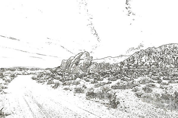 Geologic Drawing - Pen Sketching Rocks, Mountains And Sky At Alabama Hills, The Mo by Eiko Tsuchiya