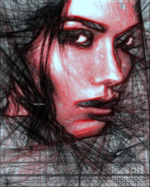 Digital Art - Pencil Sketch In Black And Red by Rafael Salazar