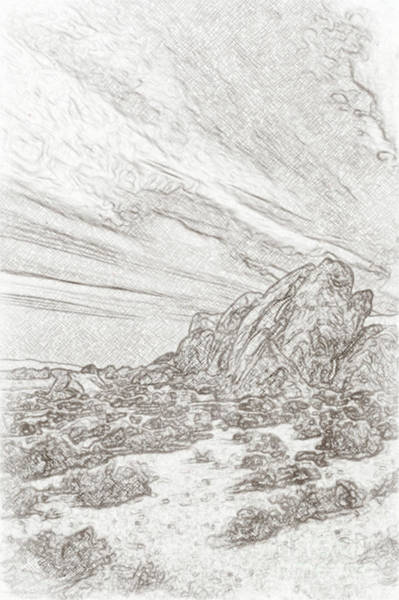 Geologic Drawing - Pencil Sketching Rocks, Mountains And Sky At Alabama Hills, The by Eiko Tsuchiya