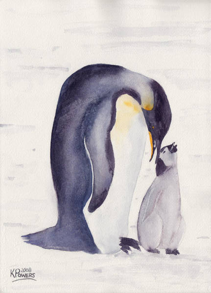 Painting - Penguin And Baby by Ken Powers