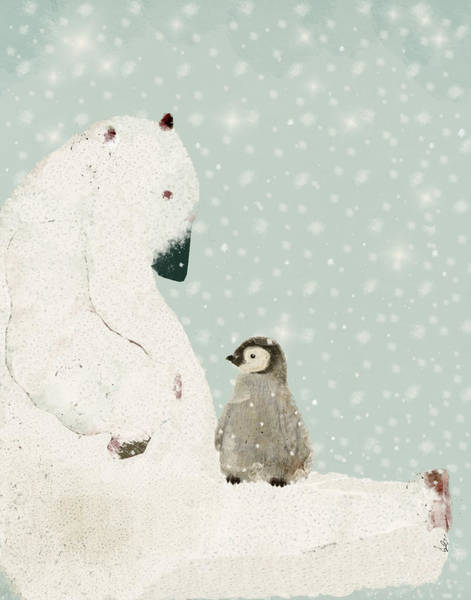 Wall Art - Painting - Penguin And Bear by Bri Buckley