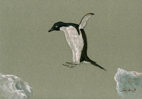 Sealife Painting - Penguin Jumping by Juan  Bosco