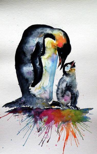 Wall Art - Painting - Penguin With Baby by Kovacs Anna Brigitta