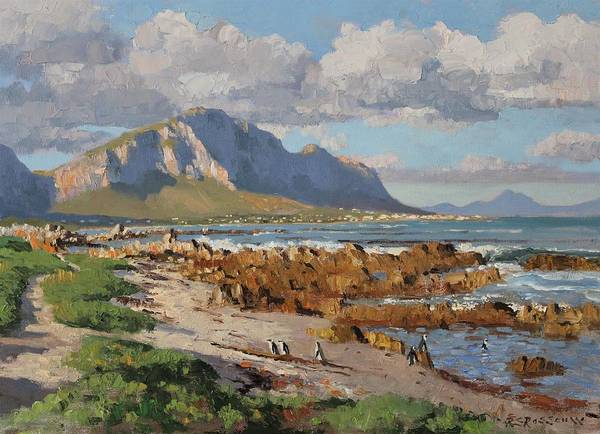 African Penguin Painting - Penguins At Betty's Bay by Roelof Rossouw