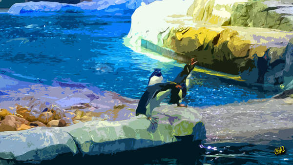 Novelties Painting - Penguins At The Zoo by CHAZ Daugherty