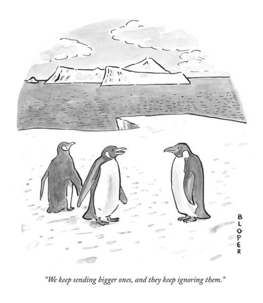 Ignore Drawing - Penguins On Antarctica by Brendan Loper