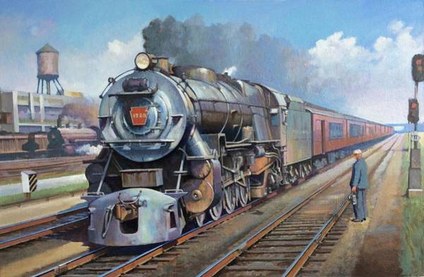 Loco Wall Art - Painting - Penn Central Pacific. by Mike Jeffries