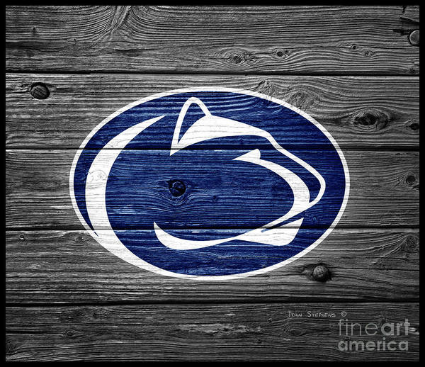 Wall Art - Photograph - Penn State Nittany Lion On Weathered Wood by John Stephens