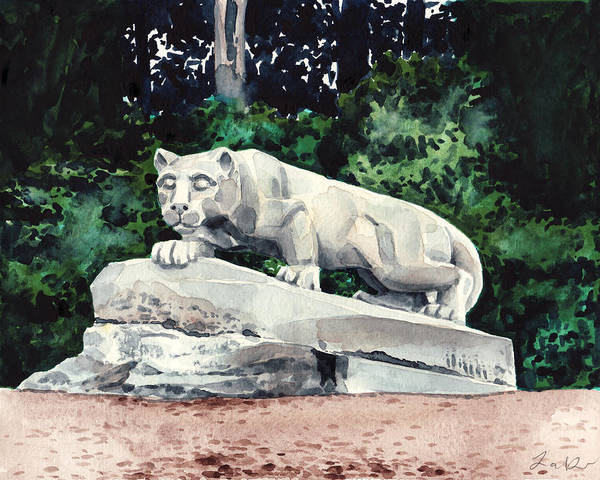 College Campus Painting - Penn State Nittany Lion Shrine University Happy Valley Joe Paterno by Laura Row