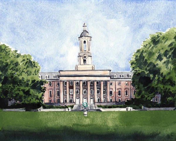 Big Fight Painting - Penn State Old Main Alma Mater State College by Laura Row
