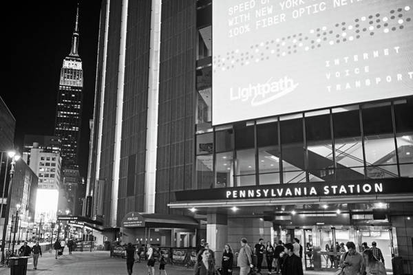 Photograph - Penn Station New York Ny Empire State Building Black And White by Toby McGuire