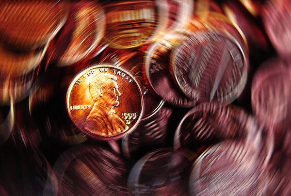 In God We Trust Photograph - Pennies Abstract by Steve Ohlsen