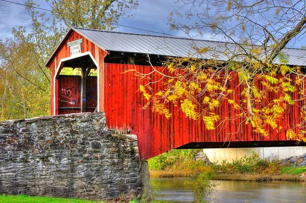 Wall Art - Photograph - Pennsylvania Country Roads - Dellville Covered Bridge Over Sherman Creek No. 13 - Perry County by Michael Mazaika