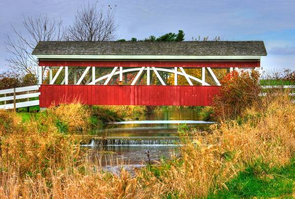 Wall Art - Photograph - Pennsylvania Country Roads - Oregon Dairy Covered Bridge Over Shirks Run - Lancaster County by Michael Mazaika