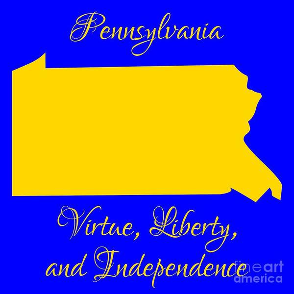 Digital Art - Pennsylvania Map In State Colors Blue And Gold With State Motto Virtue Liberty And Independence by Rose Santuci-Sofranko