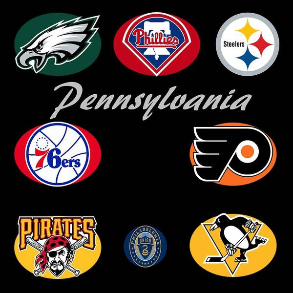 Philly Digital Art - Pennsylvania Professional Sport Teams Collage  by Movie Poster Prints