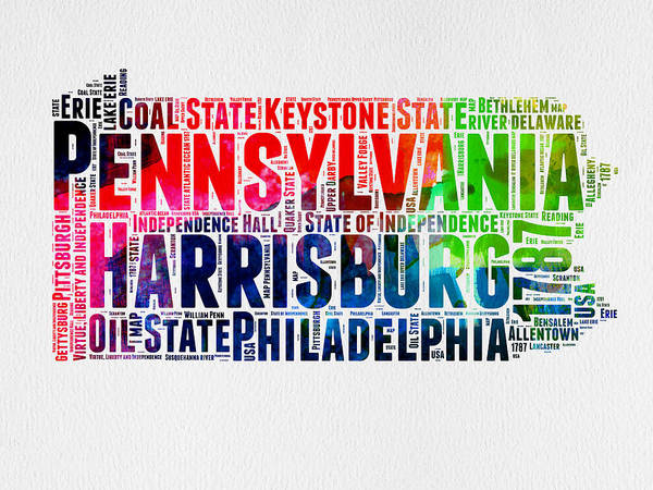 Wall Art - Digital Art - Pennsylvania Watercolor Word Cloud Map  by Naxart Studio
