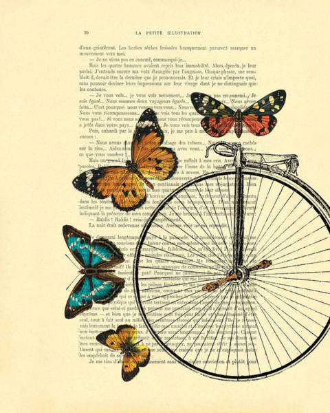Vintage Poster Digital Art - Penny Farthing With Butterflies by Madame Memento