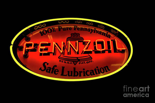 Photograph - Pennzoil Neon Sign by Miles Whittingham