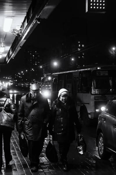 Photograph - Pensioners Walking At Night Ufa Russia 2015 by John Williams