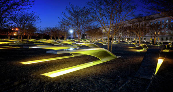 Photograph - Pentagon 9/11 Memorial By Night by Ryan Wyckoff