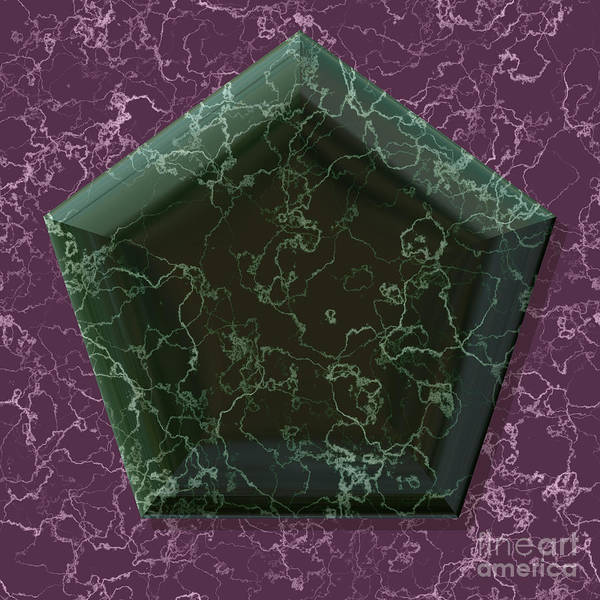 Granite Digital Art - Pentagon Shape Frame With Generated Texture by Miroslav Nemecek