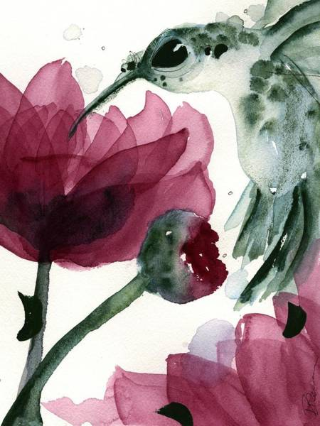 Painting - Peonies And Hummer by Dawn Derman