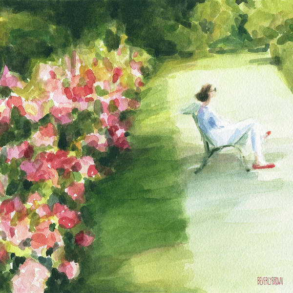 Wall Art - Painting - Peonies And Red Shoes Parc De Bagatelle by Beverly Brown
