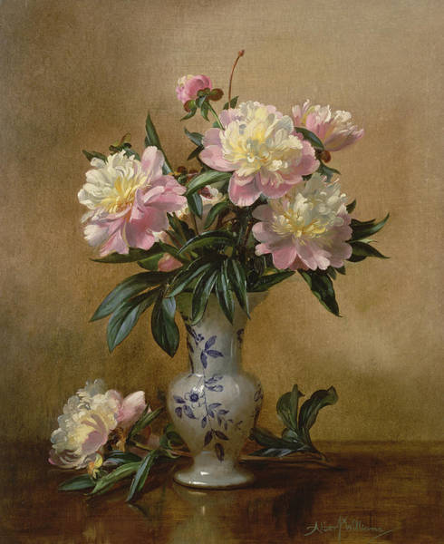 Ceramics Wall Art - Painting - Peonies In A Blue And White Vase by Albert Williams