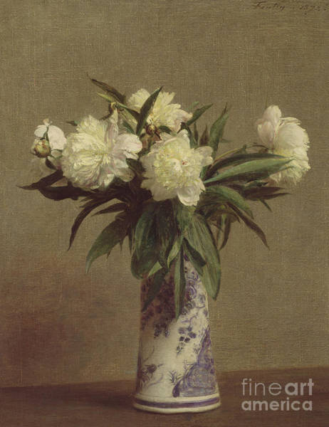 Posy Wall Art - Painting - Peonies In A Blue And White Vase by Ignace Henri Jean Fantin-Latour