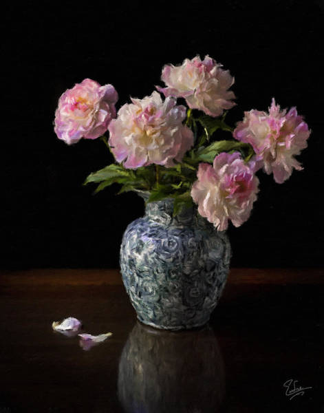 Photograph - Peonies In A Blue Vase Faux Oil by Endre Balogh