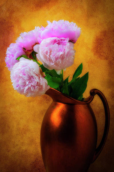 Pitcher Plant Photograph - Peonies In Bronze Pitcher by Garry Gay