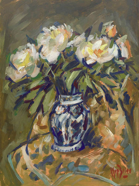 Painting - Peonies In Delft Blue Vase On Quilt by Nop Briex